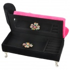 Cute Sofa w/ Pillar Style Poly Velour + Paper Board Jewelry Storage Box - Deep Pink + Black