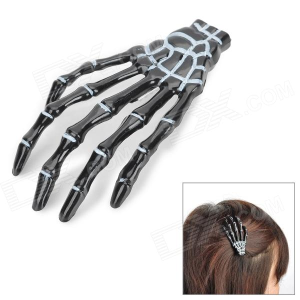 063001 Skeleton Hand Style Decorative Hairpin / Collar Clip - Black
