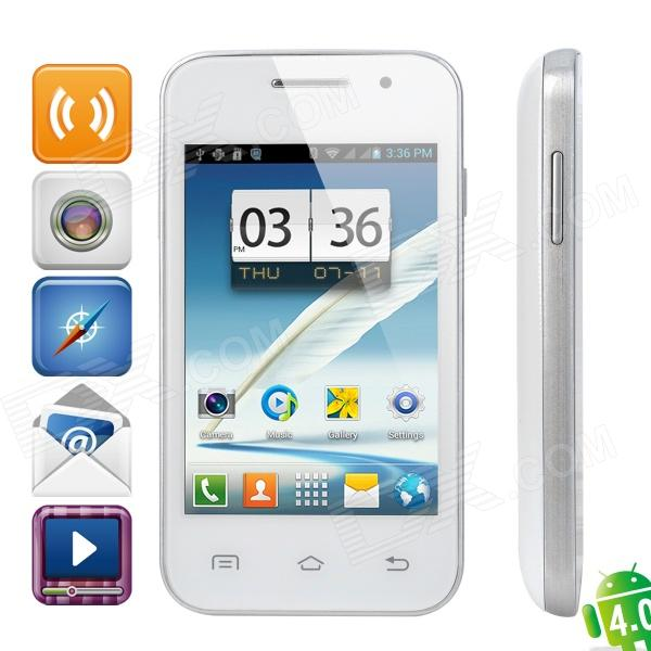 "Mini 7100 Android 4.0 GSM Bar Phone w/ 3.5"" Capacitive Screen, Wi-Fi and Quad-Band - White"