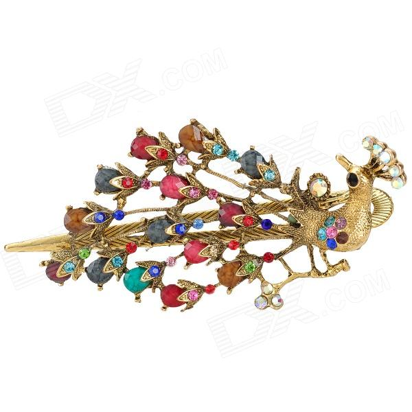 Peacock Style w/ Crystal + Rhinestones + Zinc Alloy Decorative Hairpin for Women - Multicolored