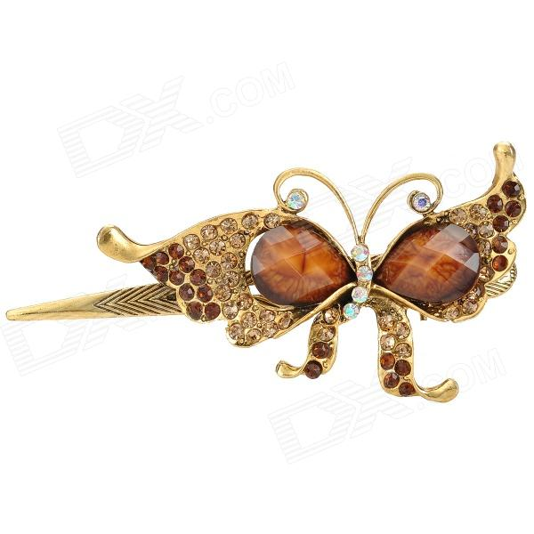 Retro Butterfly Style w/ Crystal + Rhinestones Decorative Hairpin for Women - Coffee + Golden