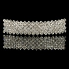 Stylish Hair Barrette w/ Sparkling Shiny Crystal - Silvery White