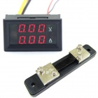 "0.28"" LED 3-Digital DC Voltage Current Measurement / Red LED Dual Display 12V + Shunt (0~100V / 50A)"