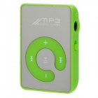 Portable Rechargeable MP3 Player w/ Clip / TF / Earphones - Green + Silver