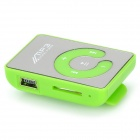 Portable Rechargeable MP3 Player w/ Clip, TF, Earphones - Green+Silver