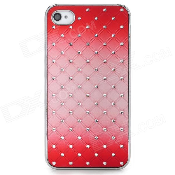 Stylish Flower Pattern w/ Inlaid Sparkling Crystal PC Back Case for Iphone 4S / 4 - Red for iphone 6s 6 crystal flower lace skin pc protection case green