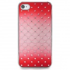 Stylish Flower Pattern w/ Inlaid Sparkling Crystal PC Back Case for Iphone 4S / 4 - Red