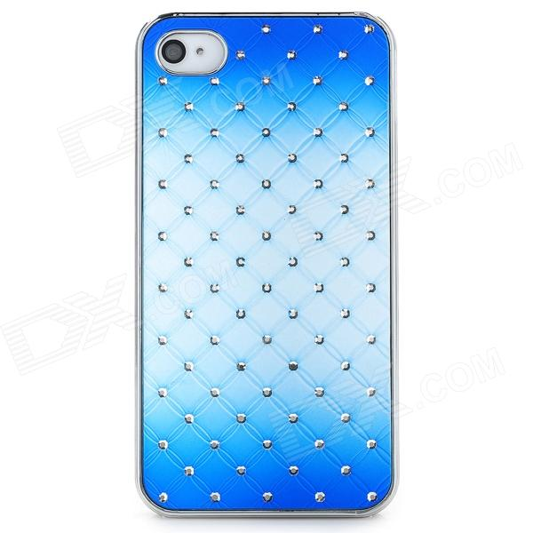 Rhinestone + PC Protective Back Case for Iphone 4 / 4S - Blue protective heart shape rhinestone decoration back case for iphone 5 brown