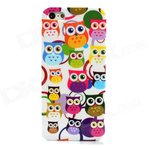 Protective Cartoon Owl Pattern Back Case for Iphone 5 - Multicolored cartoon lion pattern protective back case for iphone 4s blue