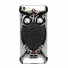 H8161 Fashion Owl Style Electroplate Leather w/ Crystal for Iphone 5 - Black