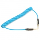 Retractable 3.5mm Male to Male Audio Transmission Cable - Blue + Black