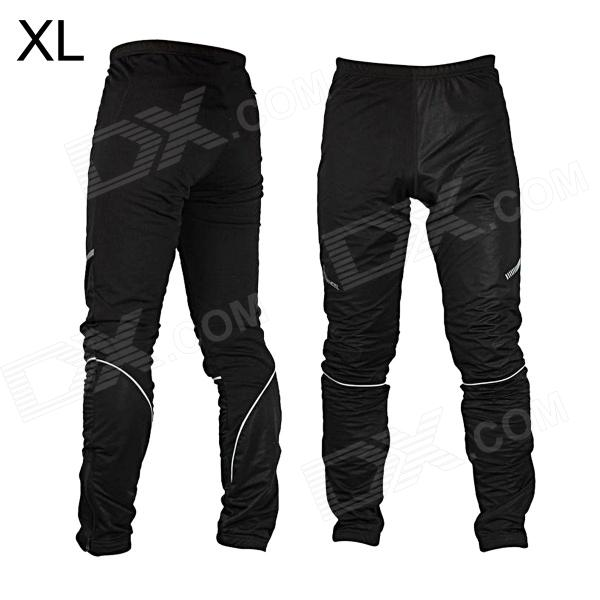 ROSWHEEL Outdoor Sports Wind Resistant Warmer Bicycle Cycling Pants - Black (Size XL) mens sports pants bloomers black size xl