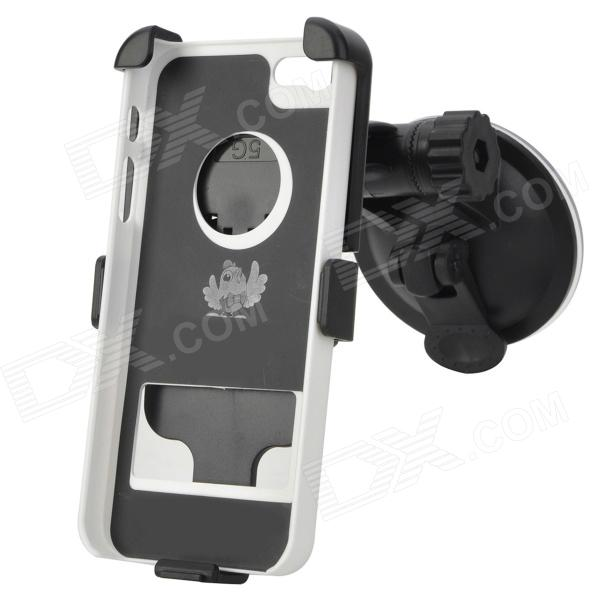Suction Cup Car Mount Holder w/ Protective Case for Iphone 5 - Black + White 360 degree rotatable suction cup mount holder for iphone ipad ipod samsung gps mid more