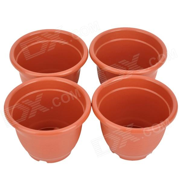 Plastic Plant Flower Pot - Brown (4 PCS)