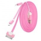USB Male to Lightning 8-Pin / Micro USB / 30-Pin Male Charging Data Cable - Deep Pink (1m)