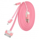 USB Male to 30-Pin / Lightning 8-Pin / Micro USB Male Charging Data Cable - Pink (100cm)