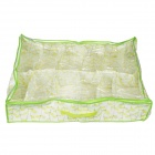 12-Compartment Portable Non-woven Fabric Storage Bag - White+  Green + Yellow