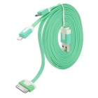 USB Male to 30-Pin / Lightning 8-Pin / Micro USB Male Flat Cable for iPhone 4S / 5 - Green + White