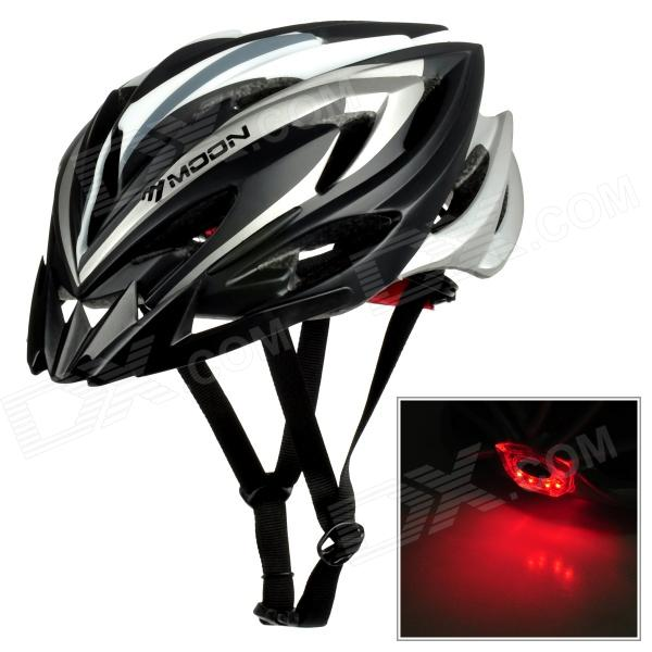 MOON MV-17 Bike Cycling Safety Helmet w/ 3-Mode Red Caution Light - Black + White (1 x CR2032)