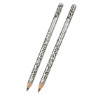 Fashion Cosmetic Waterproof Leopard Print Eye Liner Pencil - Black + Silver Grey (2 PCS)