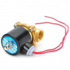 "18W Copper + Zinc Alloy + Aluminum + Plastic 1/2"" Electric Solenoid Valve - Black + Golden (AC 220V)"