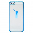 Cool Protective Plastic Back Case for iPhone 5 - Blue + Transparent