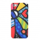 Love Heart Style Relief Graffiti Frosted Protective Plastic Back Case for iPhone 5 - Multicolor