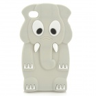 Cartoon Elephant Style Protective Silicone Back Case for Iphone 4 / 4S - Grey + White