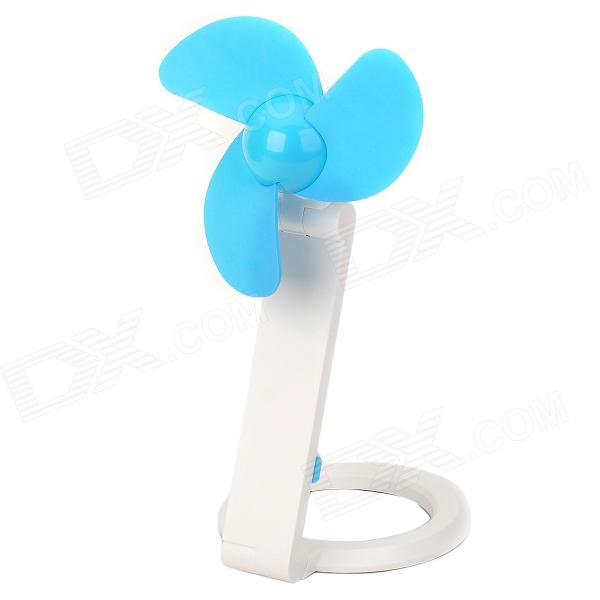 Convenient USB2.0 Mini 3-blade Fan - White + Blue