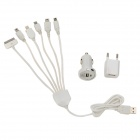 Compact Portable Universal USB Car Charger + EU Plug Power Adapter + 6-in-1 Cable Set - White