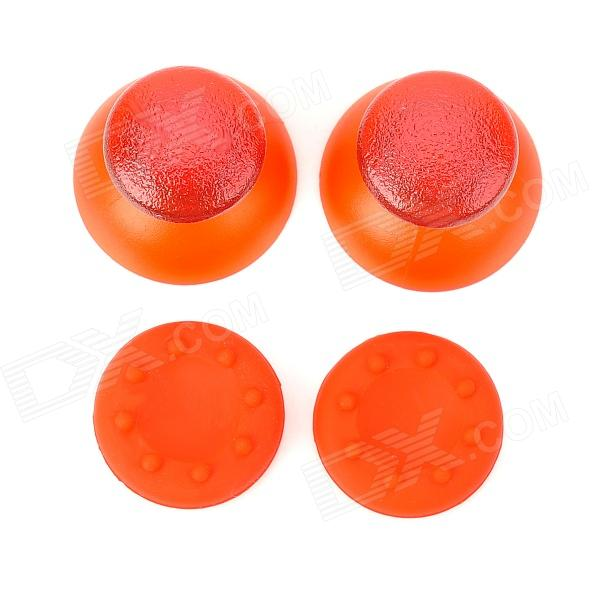 Replacement Plastic Rocker Cap + Nonslip Silicone cap Set for PS3 - Red (2 Pairs) non slip colloidal particles rocker cap set for ps3 wireless controller translucent white