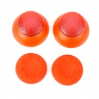 Replacement Plastic Rocker Cap + Nonslip Silicone cap Set for PS3 - Red (2 Pairs)