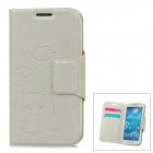 Protective PU Leather Flip Open  Case for Samsung Galaxy S4/I9500 - Grey White