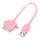 USB Male to Micro USB / Lightning 8-Pin / 30-Pin Male Flat Data Charging Cable - Pink