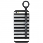 Fashion Creative Hollow-out Strip Ladder Plastic Back Case w/ Stand for Iphone 5 - Black