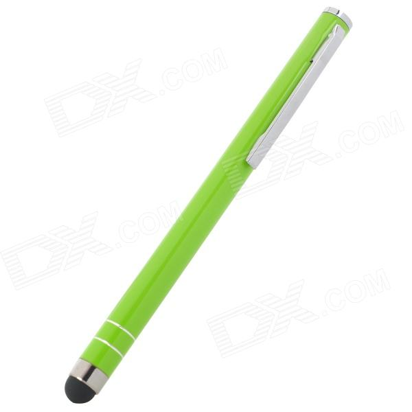 Universal Capacitive Touch Screen Stylus Pen w/ Clip - Silver + Green