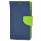 Protective PU Leather Flip-Open Case for Sony L36H - Deep Blue + Green
