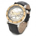 Genuine_IK_Colouring_Men's_Leather_Band_Mechanical_Waterproof_Wrist_Watch - Black + Golden