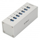 ORICO A3H7-SV High Speed 7-Port USB 3.0 Hub w/ AC Power Adapter / LED Indicator - Silver Grey
