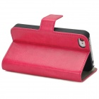 Protective Leather PU flip-aberto para o iPhone 4 / 4S - Deep Pink