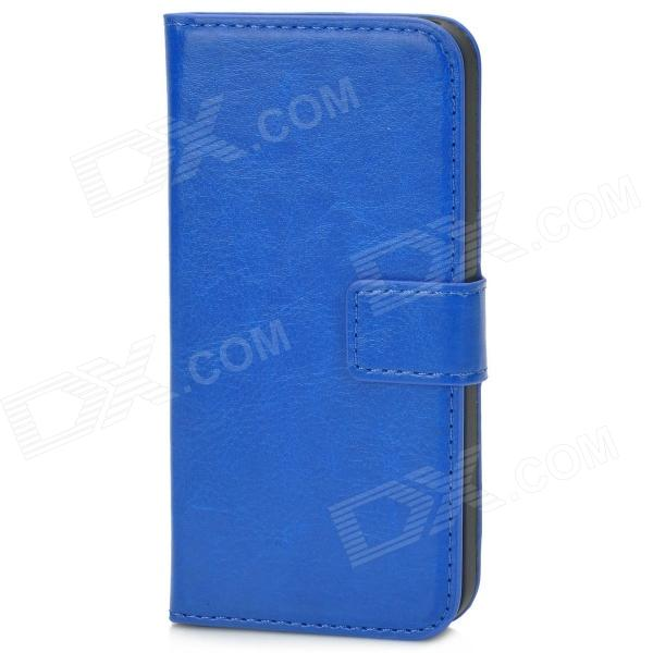 Protective PU Leather Flip-Open Case for Iphone 5 - Blue usams protective pu leather flip open case for iphone 5c blue