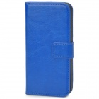 Protective PU Leather Flip-Open Case for Iphone 5 - Blue