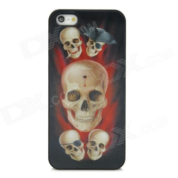 Cool 3D Skull Pirates Design Protective Plastic Back Case for Iphone 5 - Red + White + Black cool skeleton style protective pc back case for iphone 4 4s white red black