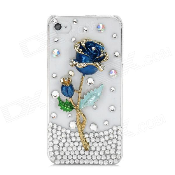 Shiny Rhinestone 3D Rose Design Protective Plastic Back Case for Iphone 4 / 4S - Blue + Golden stylish bubble pattern protective silicone abs back case front frame case for iphone 4 4s