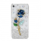 Shiny Rhinestone 3D Rose Design Protective Plastic Back Case for Iphone 4 / 4S - Blue + Golden