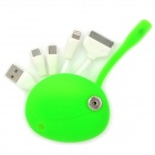 Smiled Face Style USB 2.0 to 30pin / 8pin Lightning / Mini USB / Micro USB Charging Cable - Green