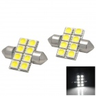 Festoon 31mm 2W 80lm 8 x SMD 5050 LED White Car Reading Light (DC 12V / 2 PCS)