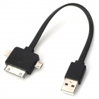 USB 2.0 to Micro USB / 8pin Lightning / 30pin Data Cable for iPhone 5 / 4S / Samsung i9500 - Black