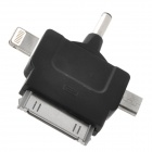 3.5mm Plug to Micro USB / 8pin Lightning / 30pin Male Charging Adapter for iPhone 5 + More - Black