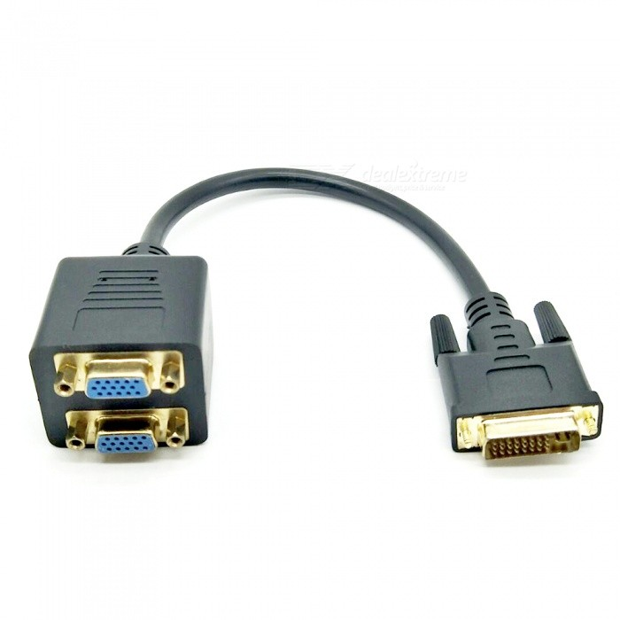 DVI-I (24+5) Male to Dual VGA Female Adapter Cable -Black (30cm)